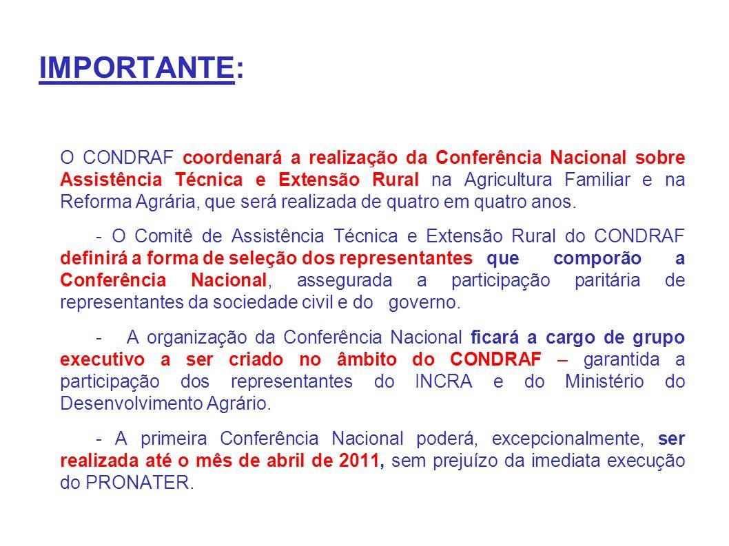IMPORTANTE: O CONDRAF coordenará a realização da Conferência Nacional sobre Assistência Técnica e Extensão Rural na Agricultura Familiar e na Reforma Agrária, que será realizada de quatro em quatro anos.