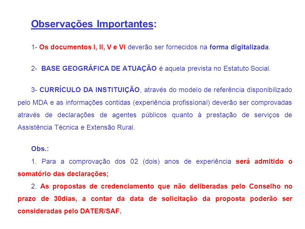 Observações Importantes: 1- Os documentos I, II, V e VI deverão ser fornecidos na forma digitalizada.