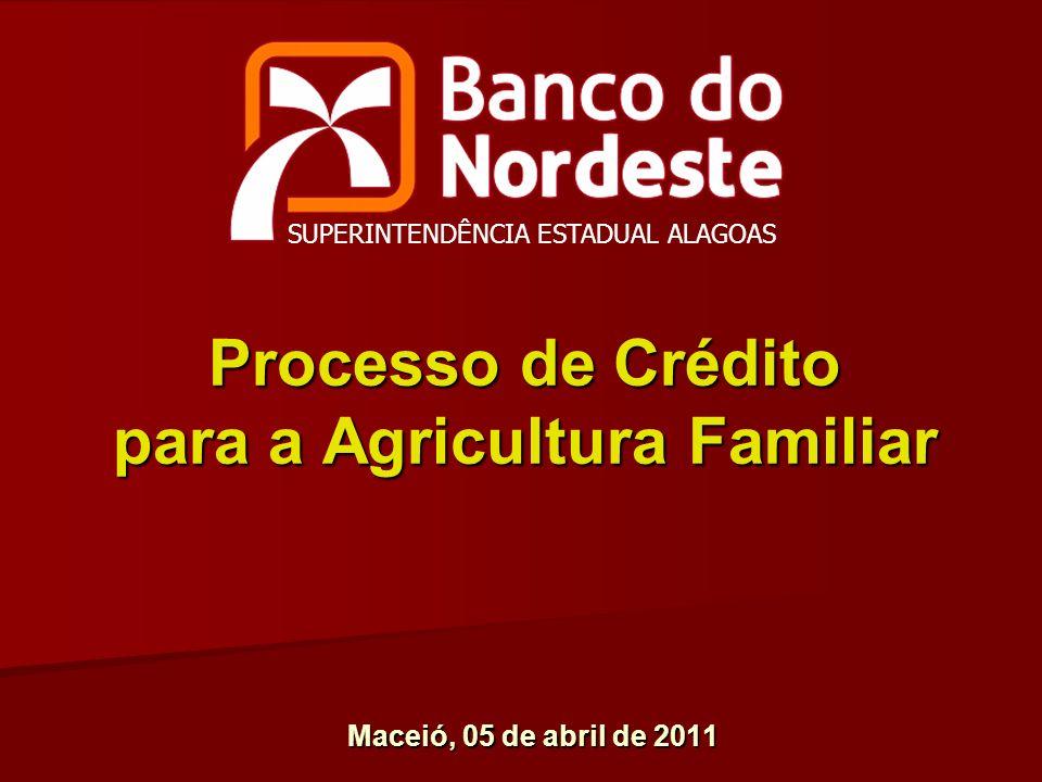 Processo de Crédito para a Agricultura Familiar Maceió, 05 de abril de 2011 SUPERINTENDÊNCIA ESTADUAL ALAGOAS