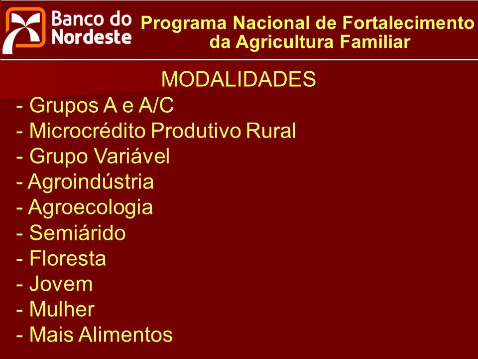 Programa Nacional de Fortalecimento da Agricultura Familiar MODALIDADES - Grupos A e A/C - Microcrédito Produtivo Rural - Grupo Variável - Agroindústria - Agroecologia - Semiárido - Floresta - Jovem - Mulher - Mais Alimentos