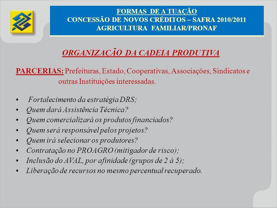 ORGANIZAÇÃO DA CADEIA PRODUTIVA PARCERIAS: Prefeituras, Estado, Cooperativas, Associações, Sindicatos e outras Instituições interessadas. Fortalecimen