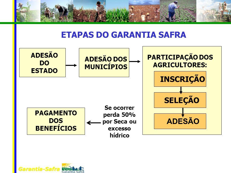 Garantia-Safra ADESÃO DO ESTADO ADESÃO DOS MUNICÍPIOS PARTICIPAÇÃO DOS AGRICULTORES: INSCRIÇÃO SELEÇÃO ADESÃO Se ocorrer perda 50% por Seca ou excesso