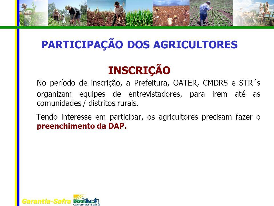 Garantia-Safra PARTICIPAÇÃO DOS AGRICULTORES INSCRIÇÃO No período de inscrição, a Prefeitura, OATER, CMDRS e STR´s organizam equipes de entrevistadore