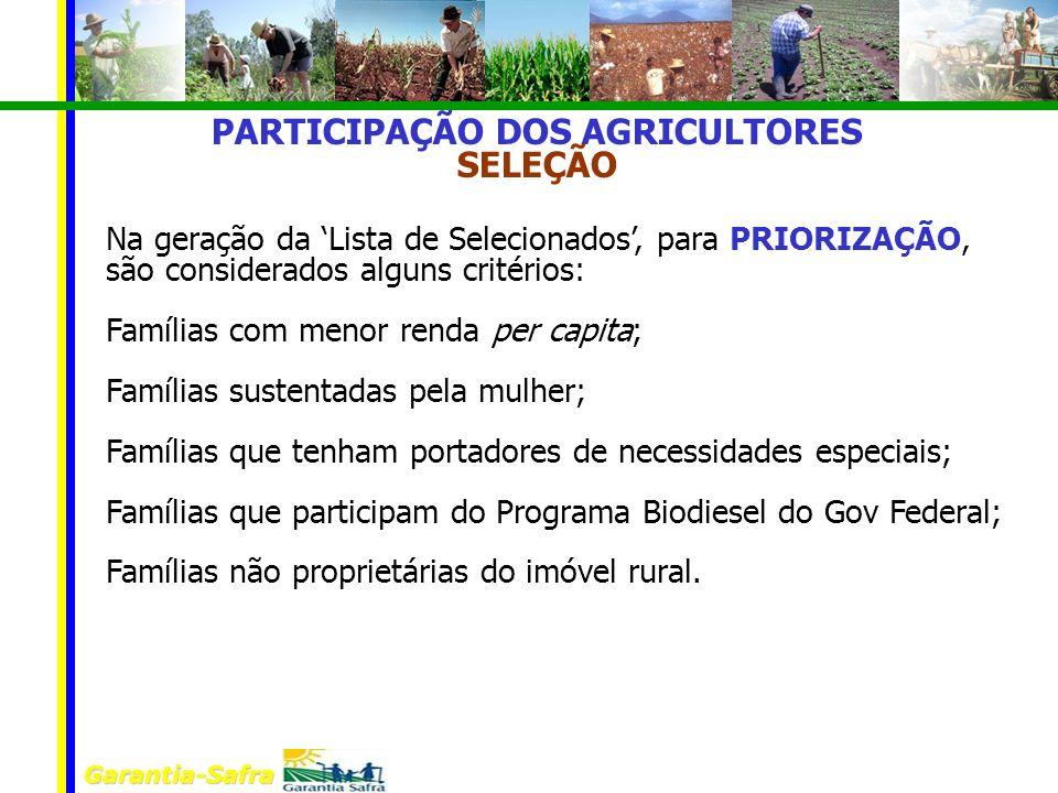 Garantia-Safra PARTICIPAÇÃO DOS AGRICULTORES SELEÇÃO Na geração da Lista de Selecionados, para PRIORIZAÇÃO, são considerados alguns critérios: Família