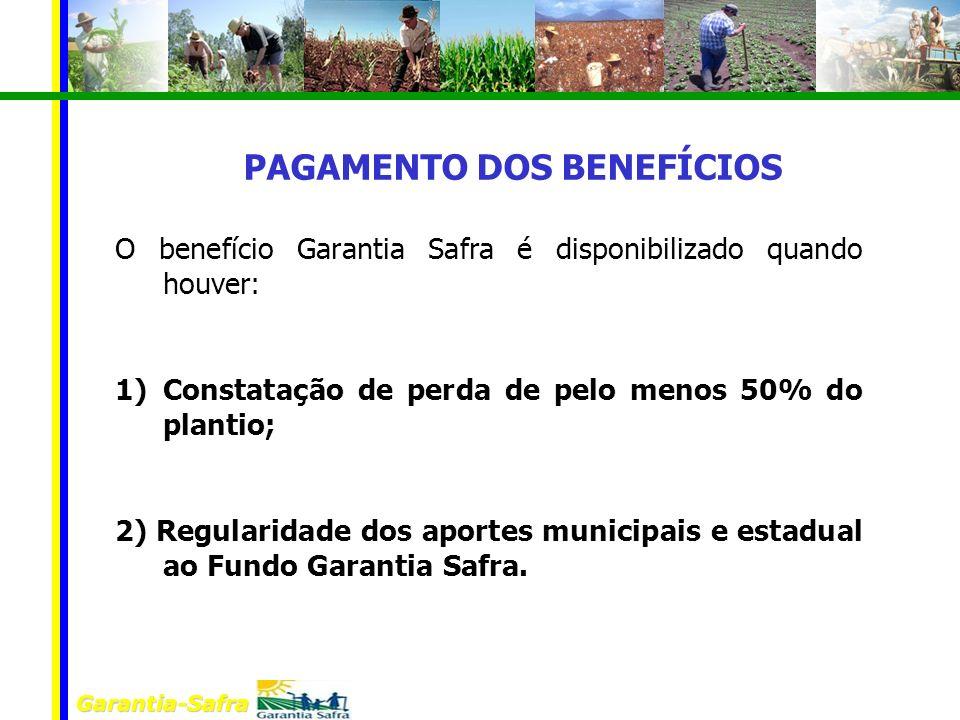 Garantia-Safra O benefício Garantia Safra é disponibilizado quando houver: 1)Constatação de perda de pelo menos 50% do plantio; 2) Regularidade dos ap