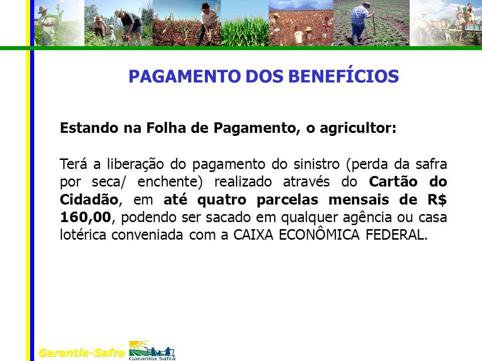 Garantia-Safra Estando na Folha de Pagamento, o agricultor: Terá a liberação do pagamento do sinistro (perda da safra por seca/ enchente) realizado at