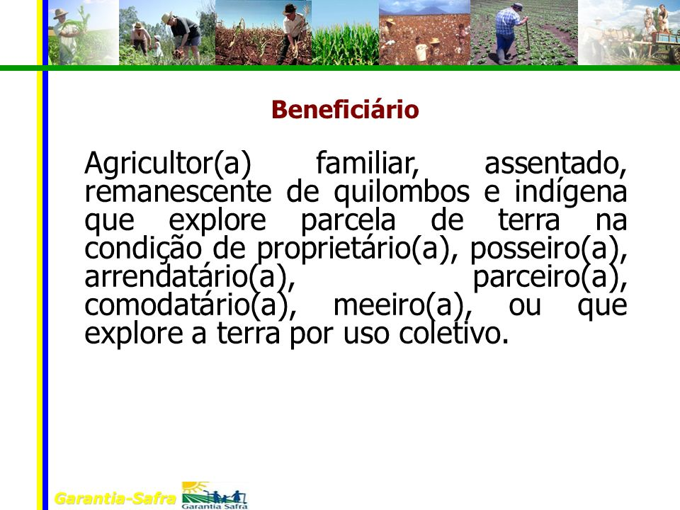 Garantia-Safra Beneficiário Agricultor(a) familiar, assentado, remanescente de quilombos e indígena que explore parcela de terra na condição de propri