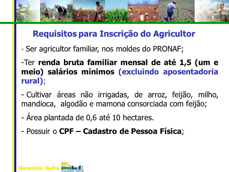 Garantia-Safra - Ser agricultor familiar, nos moldes do PRONAF; -Ter renda bruta familiar mensal de até 1,5 (um e meio) salários mínimos (excluindo ap