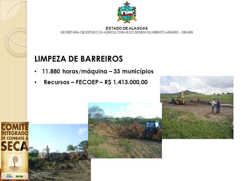 ESTADO DE ALAGOAS SECRETARIA DE ESTADO DA AGRICULTURA E DO DESENVOLVIMENTO AGRÁRIO - SEAGRI LIMPEZA DE BARREIROS 11.880 horas/máquina – 33 municípios