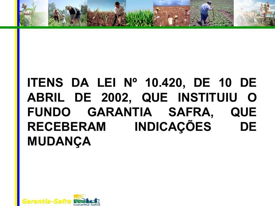 Garantia-Safra ITENS DA LEI Nº 10.420, DE 10 DE ABRIL DE 2002, QUE INSTITUIU O FUNDO GARANTIA SAFRA, QUE RECEBERAM INDICAÇÕES DE MUDANÇA