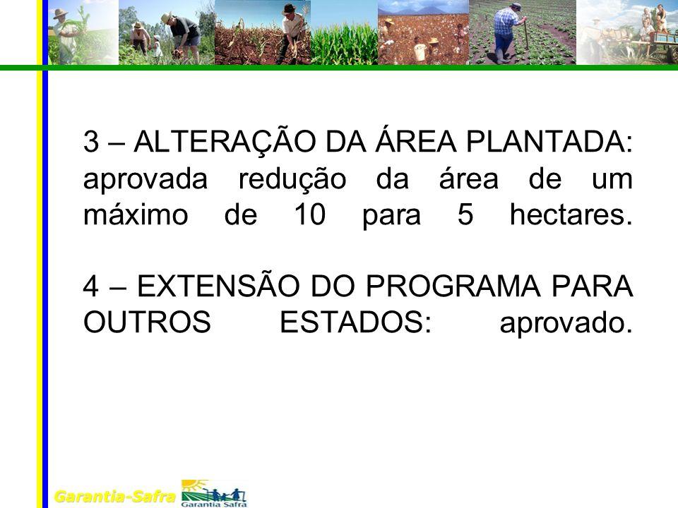 Garantia-Safra 3 – ALTERAÇÃO DA ÁREA PLANTADA: aprovada redução da área de um máximo de 10 para 5 hectares.