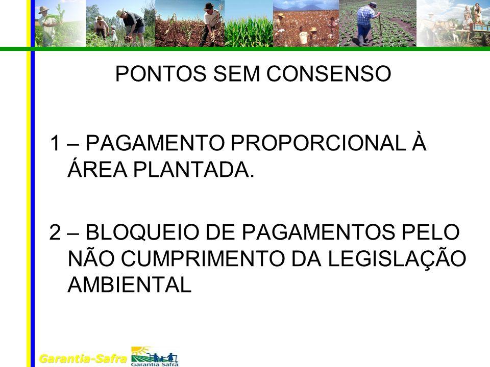 Garantia-Safra PONTOS SEM CONSENSO 1 – PAGAMENTO PROPORCIONAL À ÁREA PLANTADA.