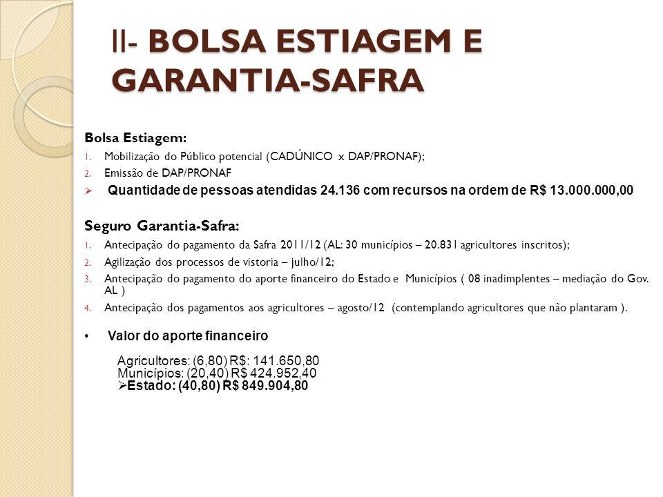 II- BOLSA ESTIAGEM E GARANTIA-SAFRA Bolsa Estiagem: 1.