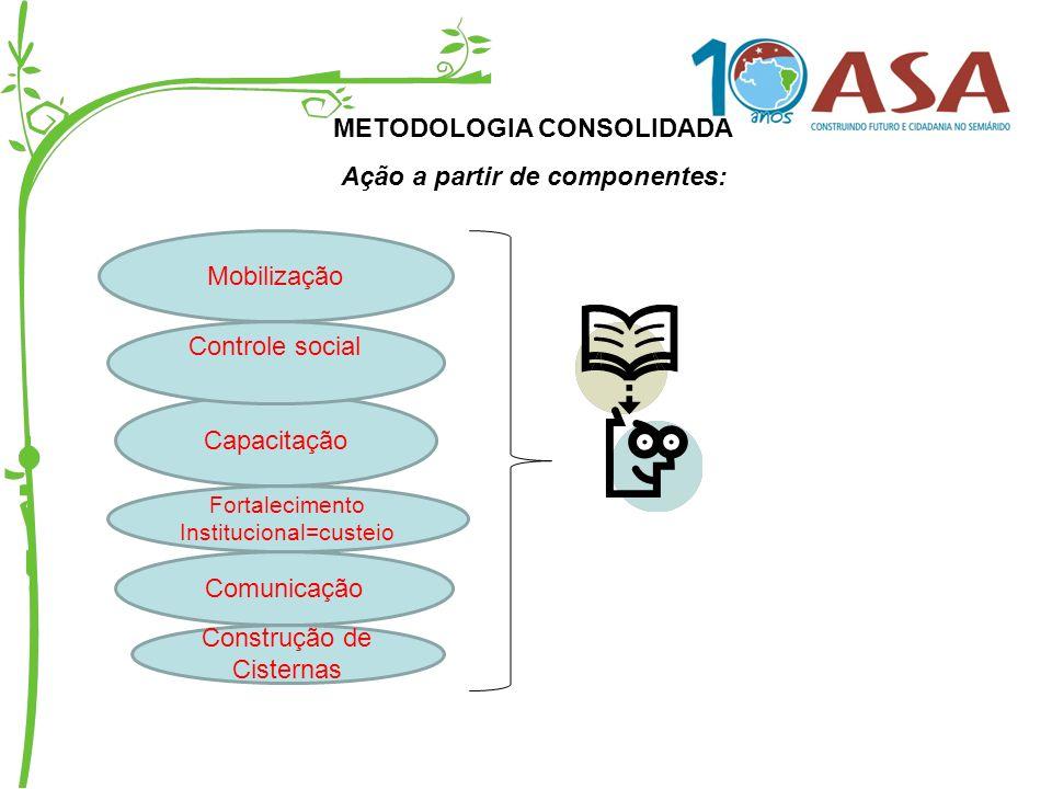 METODOLOGIA CONSOLIDADA Ação a partir de componentes: Mobilização Fortalecimento Institucional=custeio Capacitação Controle social Comunicação Constru