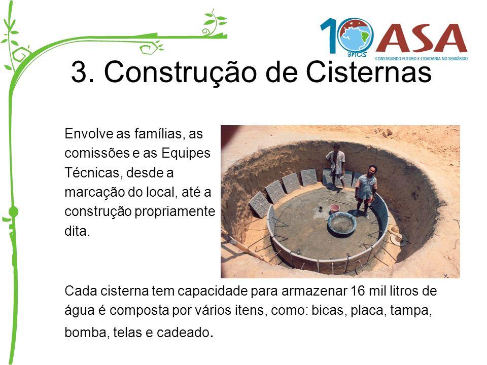 3. Construção de Cisternas Envolve as famílias, as comissões e as Equipes Técnicas, desde a marcação do local, até a construção propriamente dita. Cad