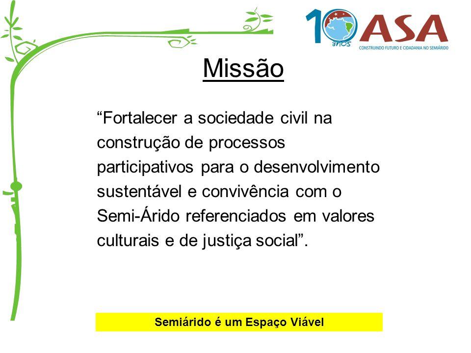Missão Fortalecer a sociedade civil na construção de processos participativos para o desenvolvimento sustentável e convivência com o Semi-Árido refere