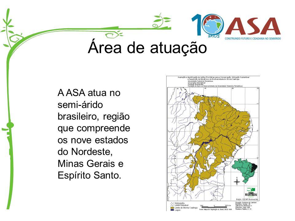 Organização política A ASA é uma articulação política sem personalidade jurídica, formada por 11 fóruns estaduais e representada por um coletivo de 22 representantes institucionais, sendo 11 titulares e 11 suplentes, denominada Coordenação Executiva da ASA Brasil (CE).