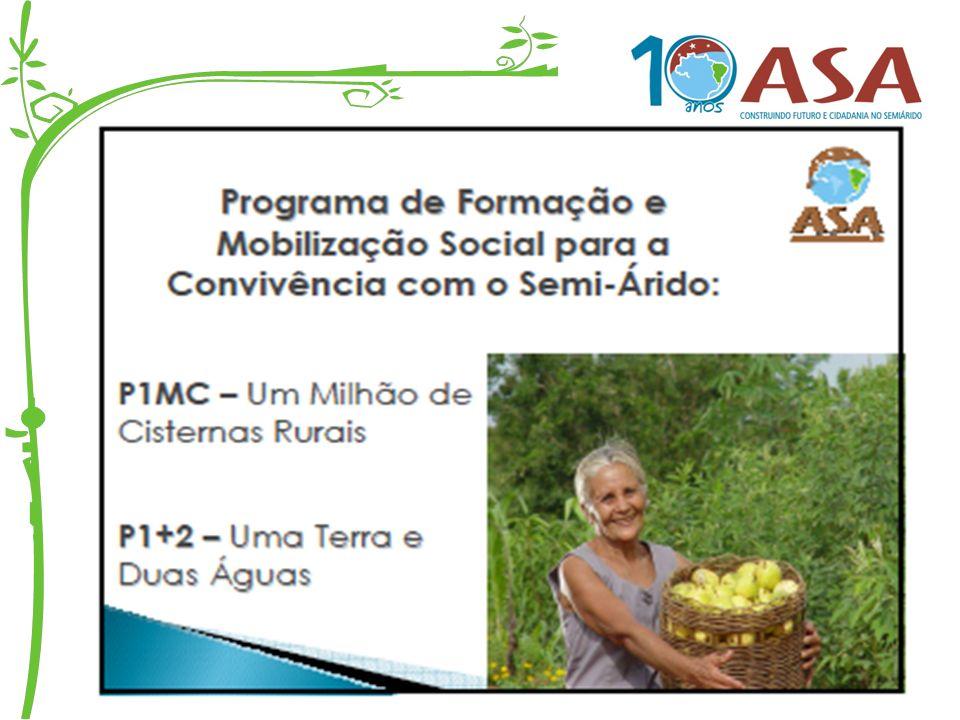 P1MC - Programa de Formação e Mobilização Social para Convivência com o Semi-Árido: Um Milhão de Cisternas Rurais É uma das ações da ASA e vem sendo desenvolvido pelas Unidades Gestoras e pelo conjunto de instituições microrregionais, municipais e locais, com respaldo técnico e político da ASA e da AP1MC.
