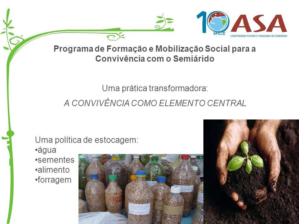 Programa de Formação e Mobilização Social para a Convivência com o Semiárido Uma prática transformadora: A CONVIVÊNCIA COMO ELEMENTO CENTRAL Uma polít