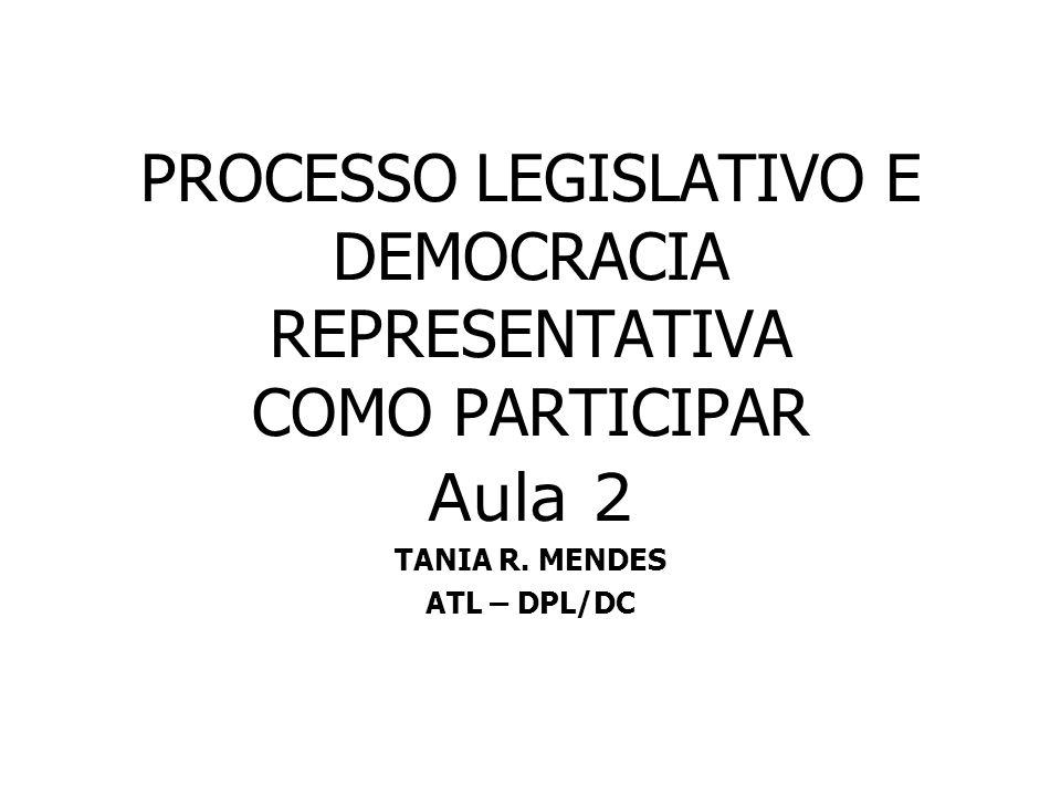 PROCESSO LEGISLATIVO E DEMOCRACIA REPRESENTATIVA COMO PARTICIPAR Aula 2 TANIA R. MENDES ATL – DPL/DC