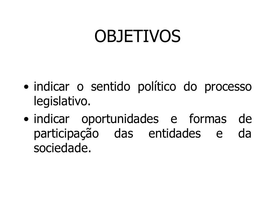 OBJETIVOS indicar o sentido político do processo legislativo. indicar oportunidades e formas de participação das entidades e da sociedade.