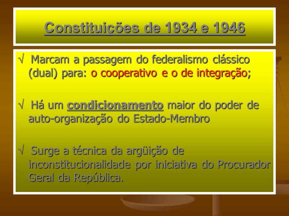 Constituições de 1934 e 1946 Marcam a passagem do federalismo clássico (dual) para: o cooperativo e o de integração; Marcam a passagem do federalismo clássico (dual) para: o cooperativo e o de integração; Há um condicionamento maior do poder de auto-organização do Estado-Membro Há um condicionamento maior do poder de auto-organização do Estado-Membro Surge a técnica da argüição de inconstitucionalidade por iniciativa do Procurador Geral da República.