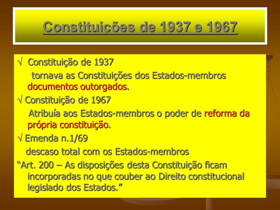 Constituições de 1937 e 1967 Constituição de 1937 Constituição de 1937 tornava as Constituições dos Estados-membros documentos outorgados. tornava as