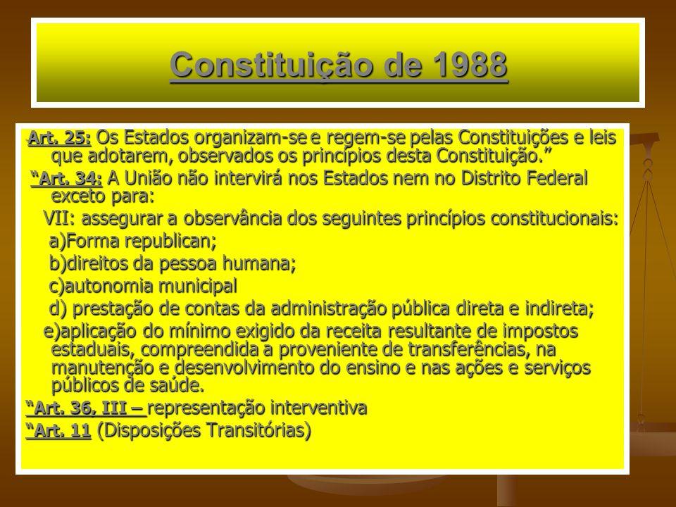 Constituição de 1988 Art. 25: Os Estados organizam-se e regem-se pelas Constituições e leis que adotarem, observados os princípios desta Constituição.