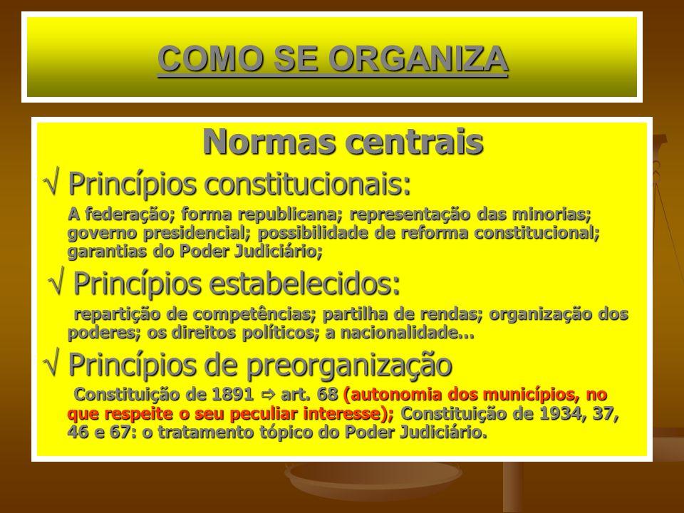 COMO SE ORGANIZA Normas centrais Princípios constitucionais: Princípios constitucionais: A federação; forma republicana; representação das minorias; g