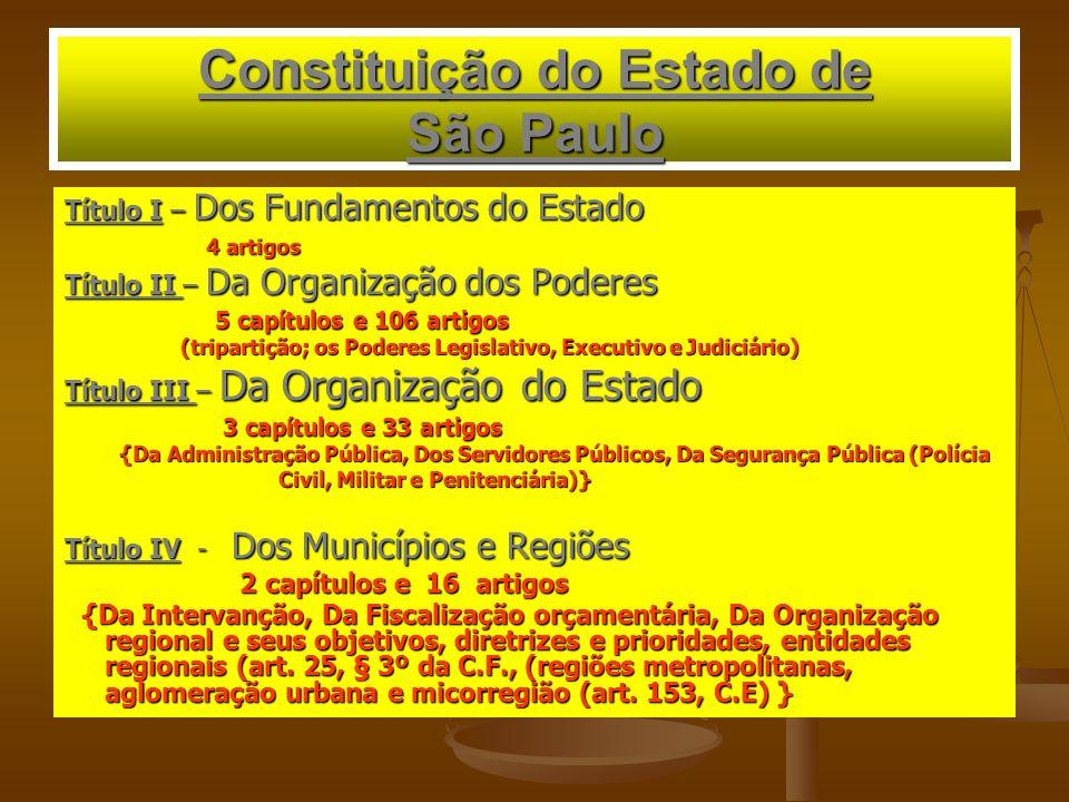 Constituição do Estado de São Paulo Título I – Dos Fundamentos do Estado 4 artigos 4 artigos Título II – Da Organização dos Poderes 5 capítulos e 106