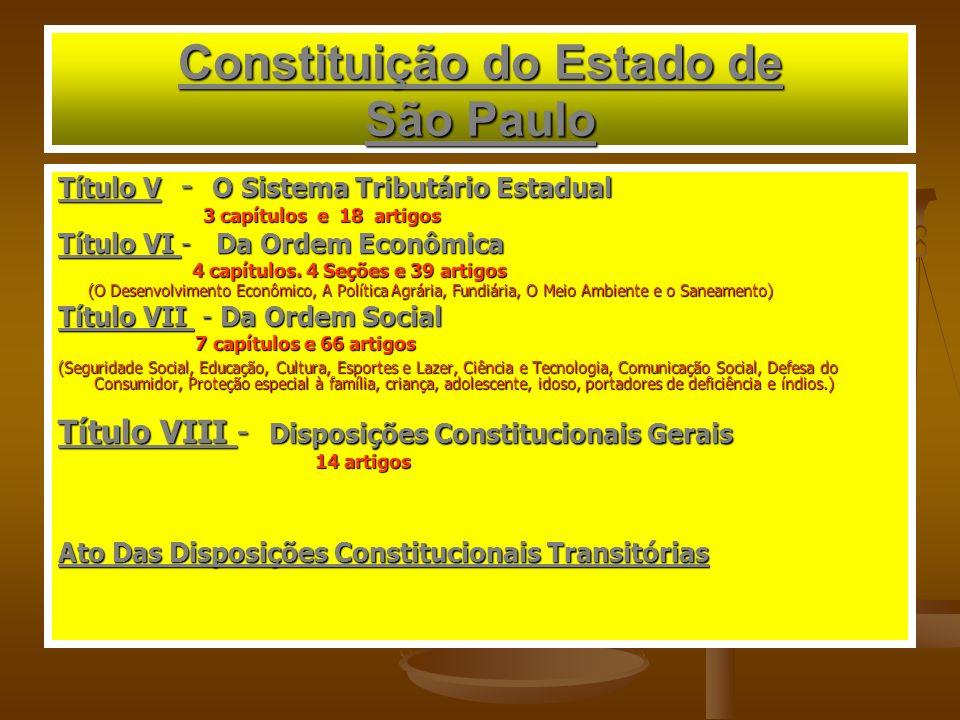Constituição do Estado de São Paulo Título V - O Sistema Tributário Estadual 3 capítulos e 18 artigos 3 capítulos e 18 artigos Título VI - Da Ordem Econômica 4 capítulos.