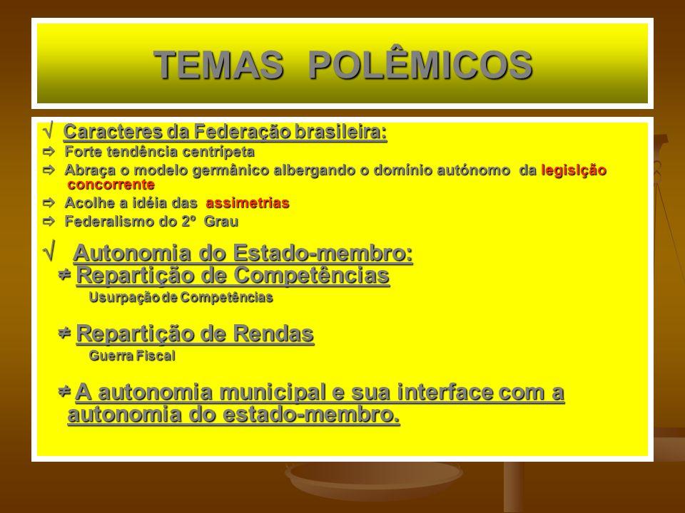 TEMAS POLÊMICOS Caracteres da Federação brasileira: Caracteres da Federação brasileira: Forte tendência centrípeta Forte tendência centrípeta Abraça o