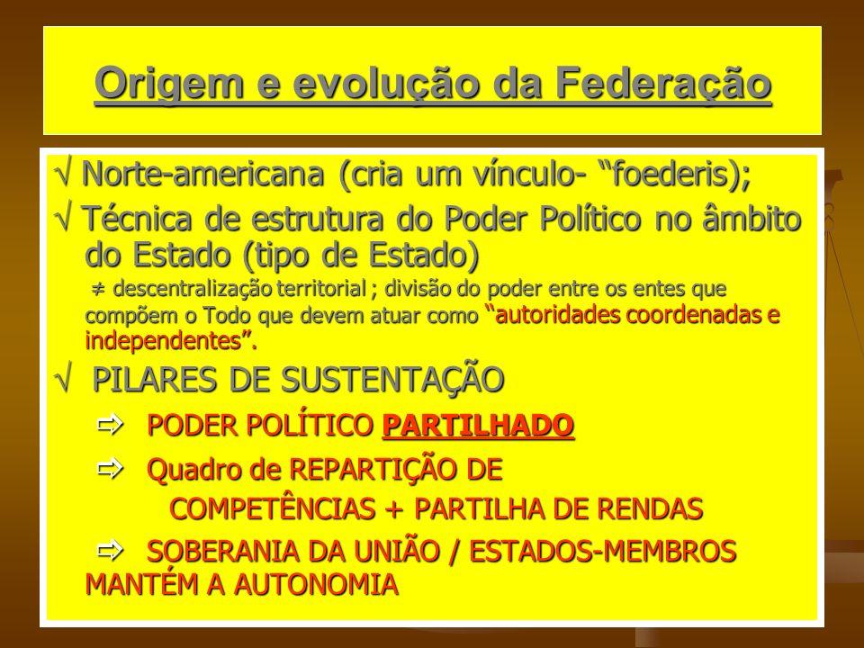 Origem e evolução da Federação Norte-americana (cria um vínculo- foederis); Norte-americana (cria um vínculo- foederis); Técnica de estrutura do Poder