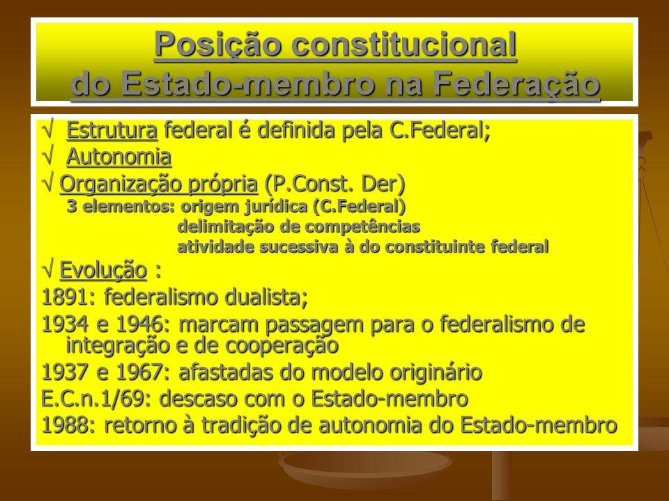 Posição constitucional do Estado-membro na Federação Estrutura federal é definida pela C.Federal; Estrutura federal é definida pela C.Federal; Autonom