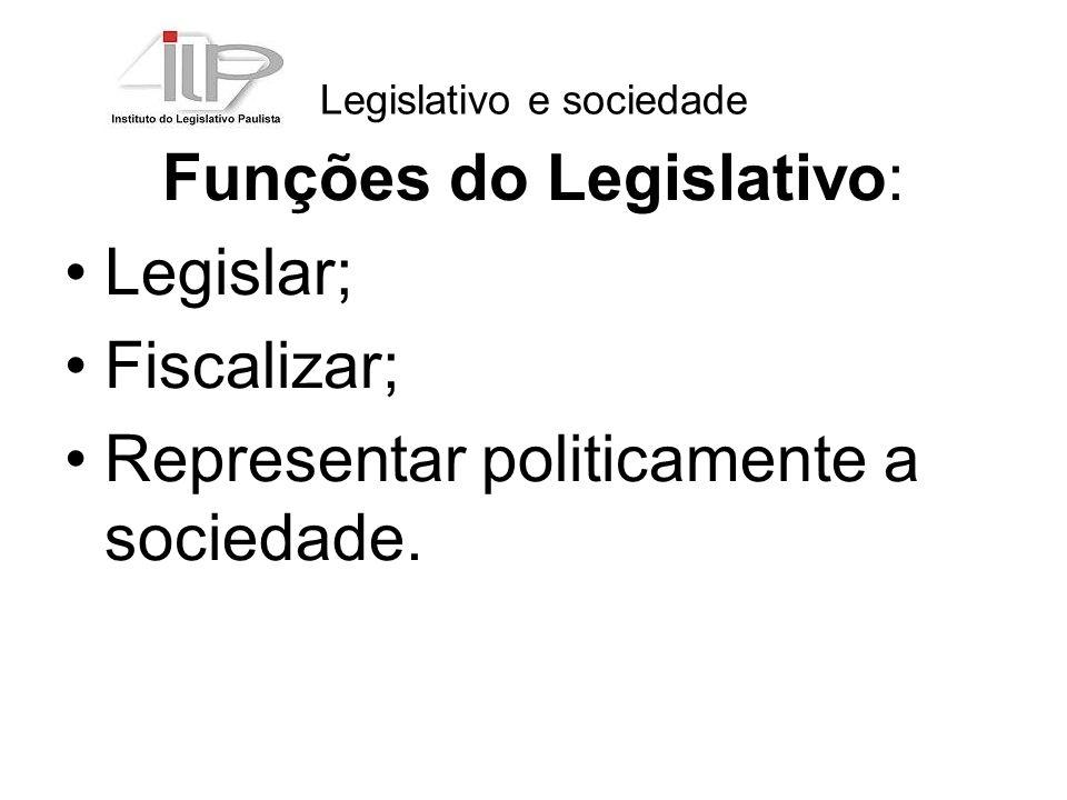 Legislativo e sociedade Funções do Legislativo: Legislar; Fiscalizar; Representar politicamente a sociedade.