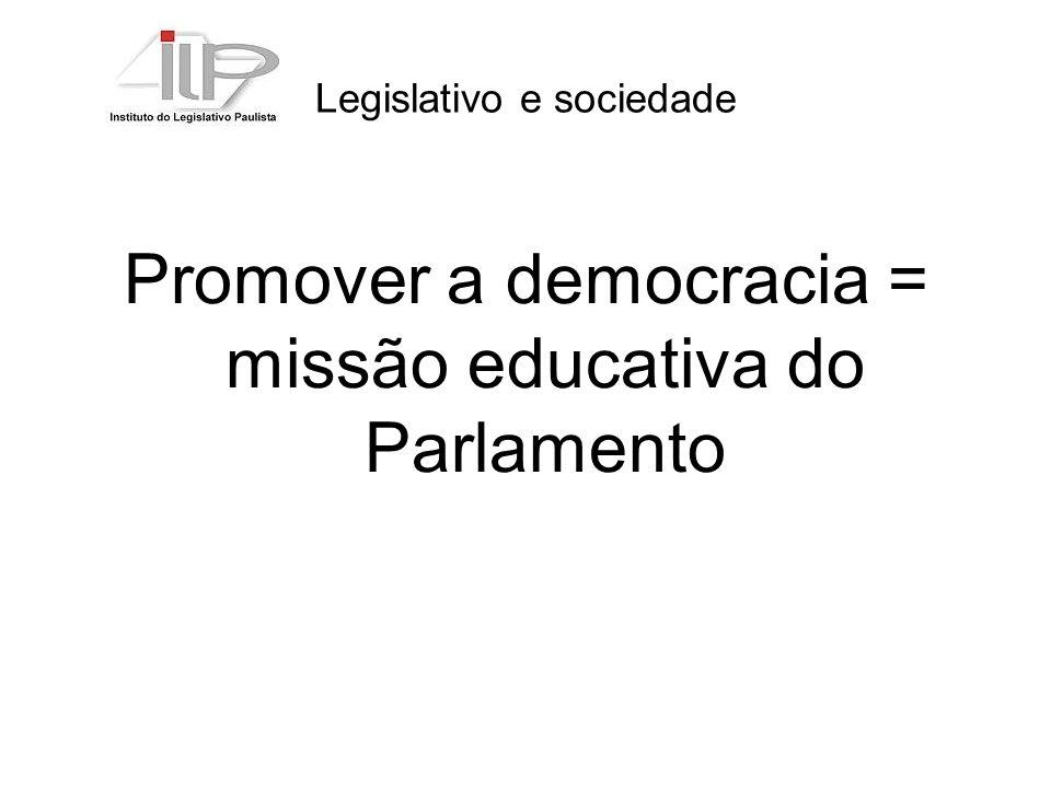 Legislativo e sociedade Promover a democracia = missão educativa do Parlamento