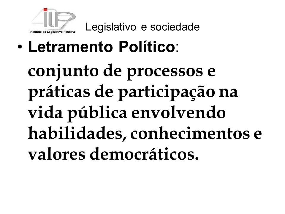 Legislativo e sociedade Letramento Político: conjunto de processos e práticas de participação na vida pública envolvendo habilidades, conhecimentos e valores democráticos.
