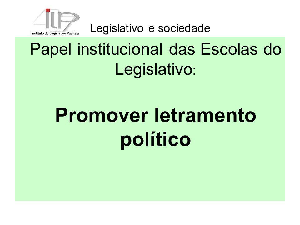 Legislativo e sociedade Papel institucional das Escolas do Legislativo : Promover letramento político