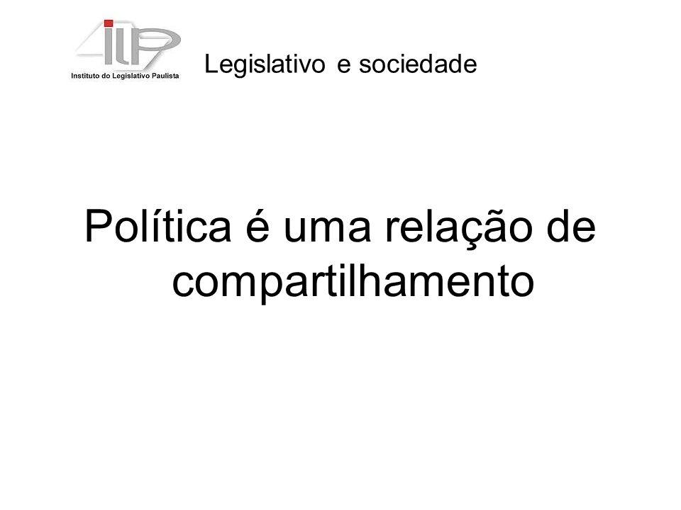 Legislativo e sociedade Política é uma relação de compartilhamento