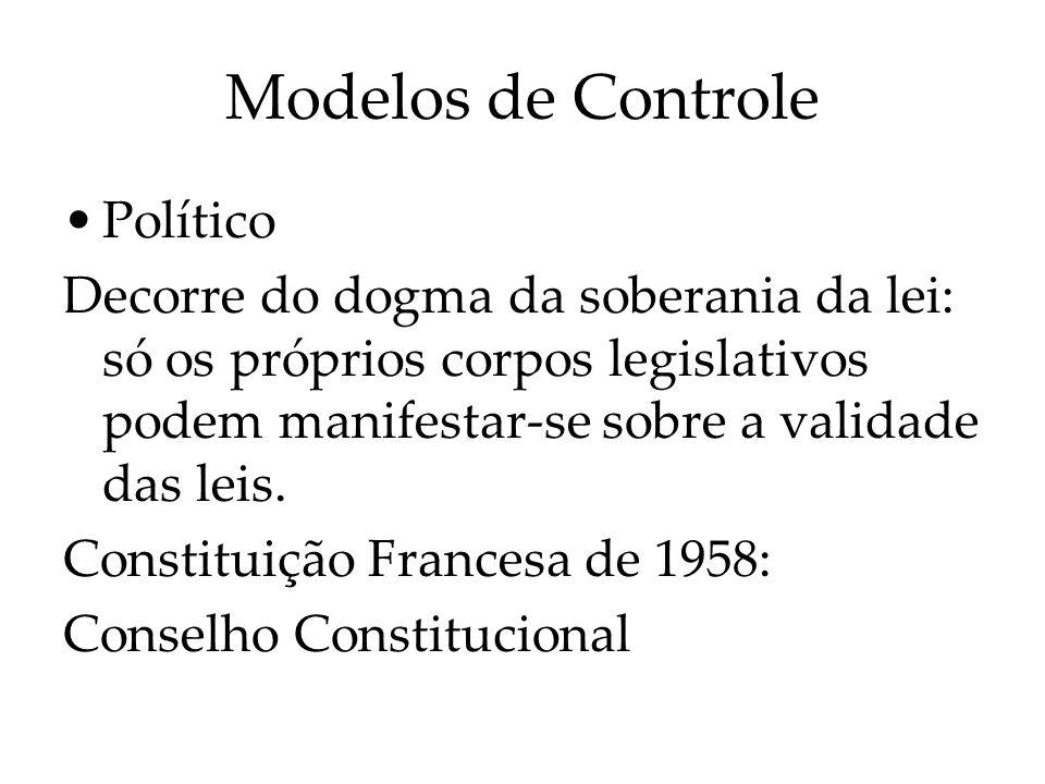 Modelos de Controle Político Decorre do dogma da soberania da lei: só os próprios corpos legislativos podem manifestar-se sobre a validade das leis. C