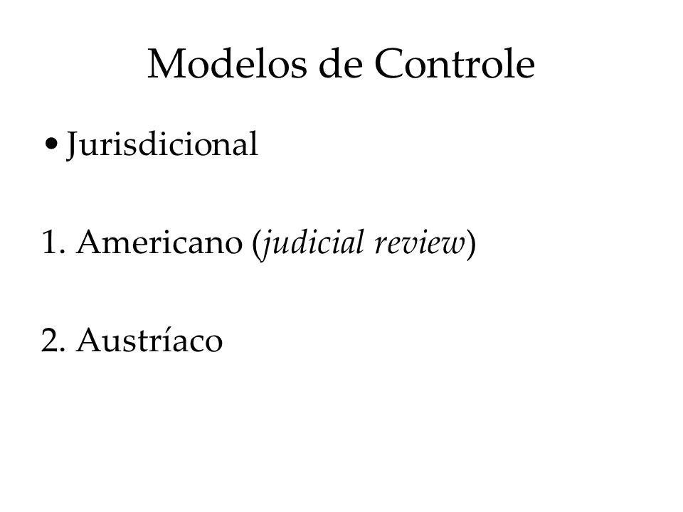 Modelos de Controle Jurisdicional 1. Americano (judicial review) 2. Austríaco
