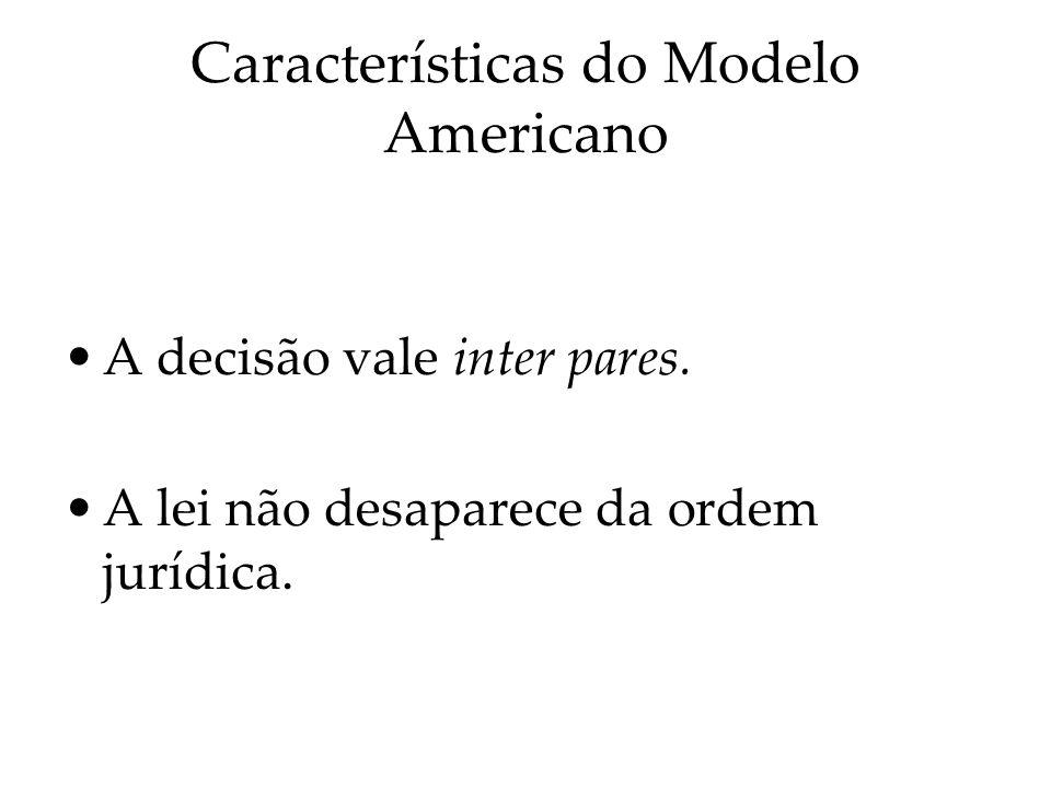 Características do Modelo Americano A decisão vale inter pares. A lei não desaparece da ordem jurídica.