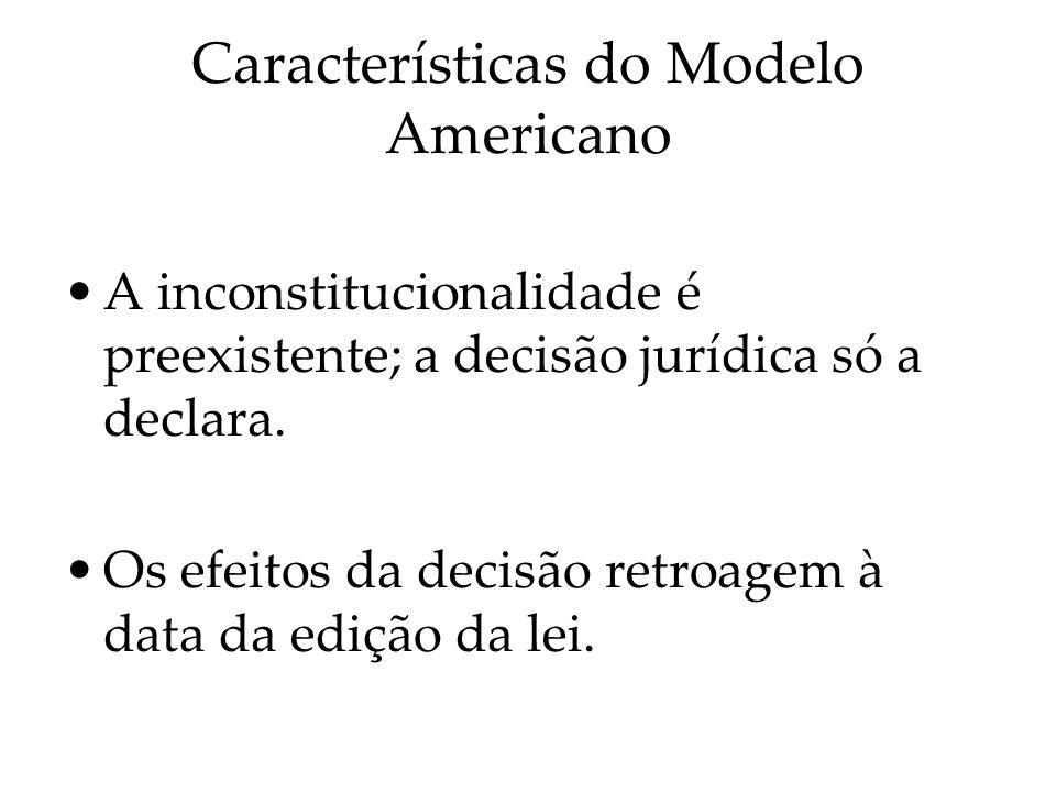Características do Modelo Americano A inconstitucionalidade é preexistente; a decisão jurídica só a declara. Os efeitos da decisão retroagem à data da