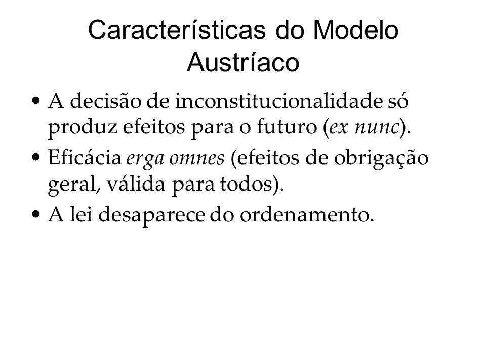 Características do Modelo Austríaco A decisão de inconstitucionalidade só produz efeitos para o futuro (ex nunc). Eficácia erga omnes (efeitos de obri