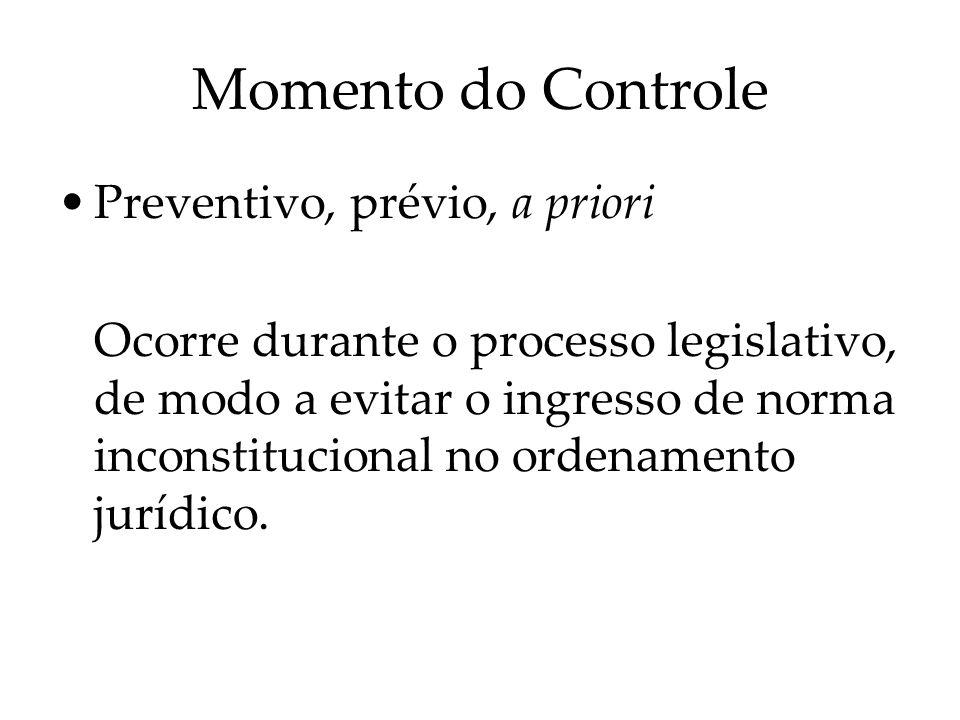 Momento do Controle Preventivo, prévio, a priori Ocorre durante o processo legislativo, de modo a evitar o ingresso de norma inconstitucional no orden