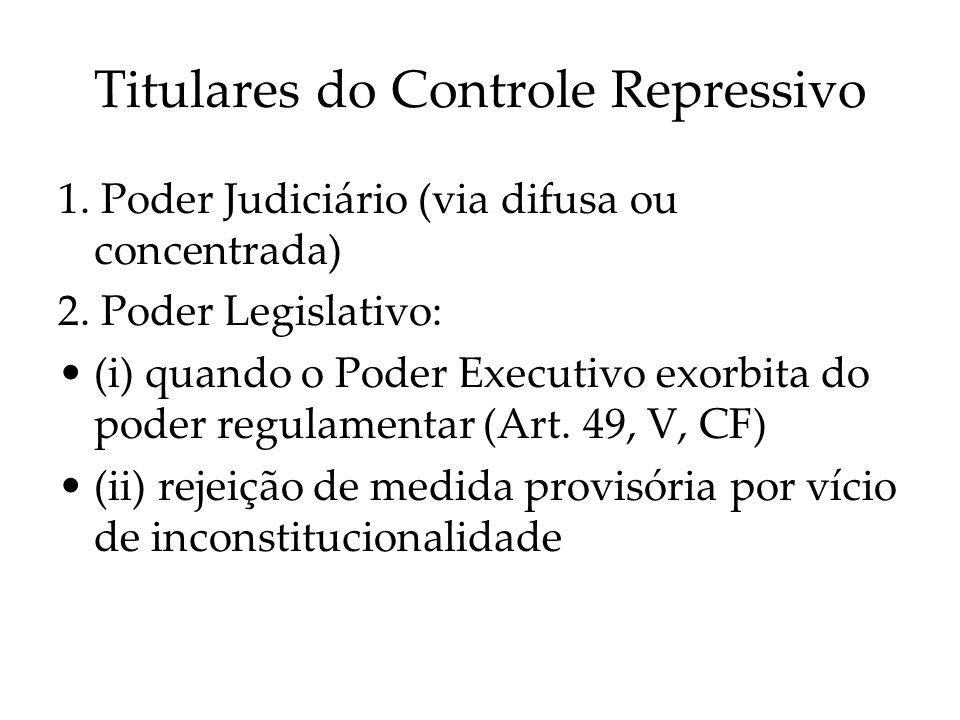 Titulares do Controle Repressivo 1. Poder Judiciário (via difusa ou concentrada) 2. Poder Legislativo: (i) quando o Poder Executivo exorbita do poder