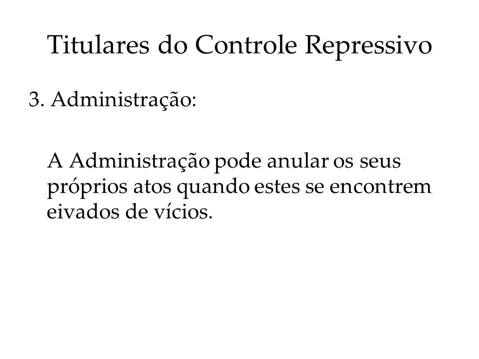 Titulares do Controle Repressivo 3. Administração: A Administração pode anular os seus próprios atos quando estes se encontrem eivados de vícios.