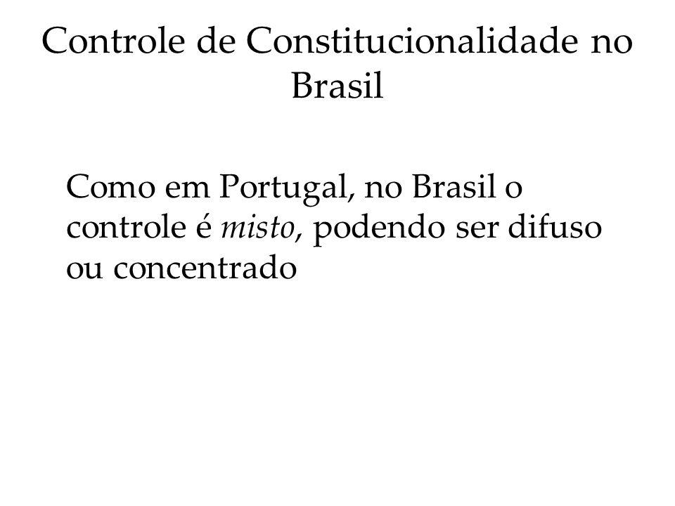 Controle de Constitucionalidade no Brasil Como em Portugal, no Brasil o controle é misto, podendo ser difuso ou concentrado