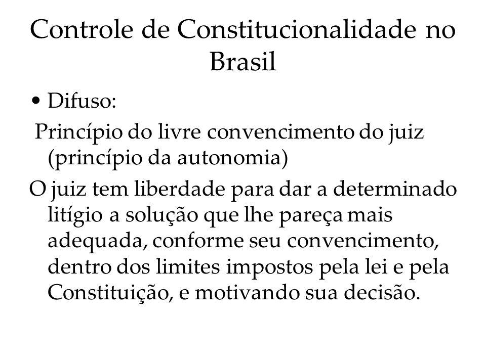 Controle de Constitucionalidade no Brasil Difuso: Princípio do livre convencimento do juiz (princípio da autonomia) O juiz tem liberdade para dar a de