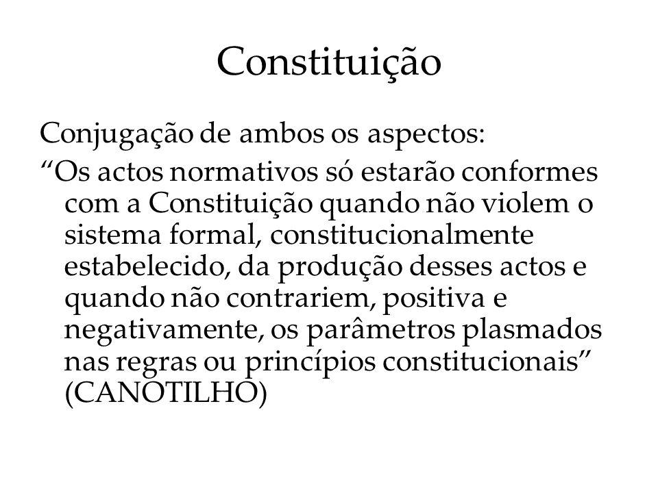 Constituição Conjugação de ambos os aspectos: Os actos normativos só estarão conformes com a Constituição quando não violem o sistema formal, constitu